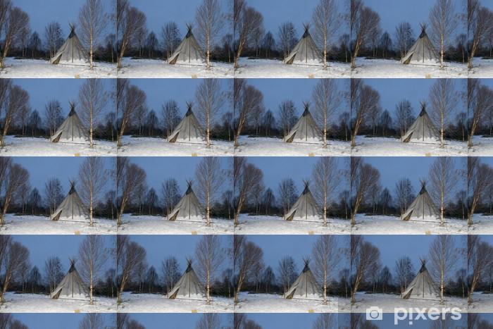Papier peint vinyle sur mesure Tipi dans le fond de neige - Monuments