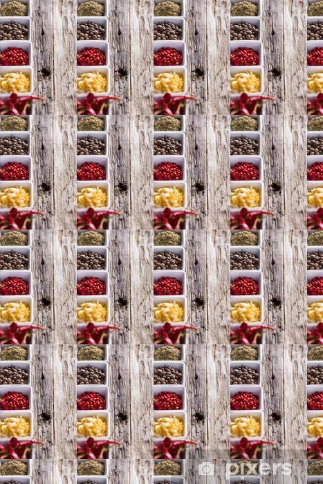Tapeta na wymiar winylowa Różne przyprawy na drewnianym tle - Przyprawy i zioła