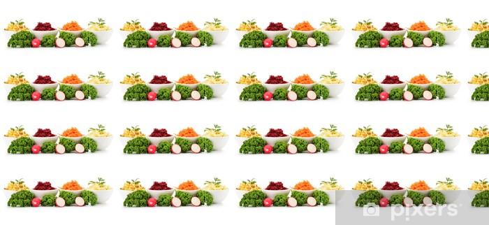 Papier peint vinyle sur mesure Composition avec quatre bols de salade de légumes - Légumes