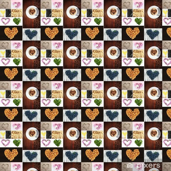 Papier peint vinyle sur mesure Collage des choses en forme de coeur - Repas
