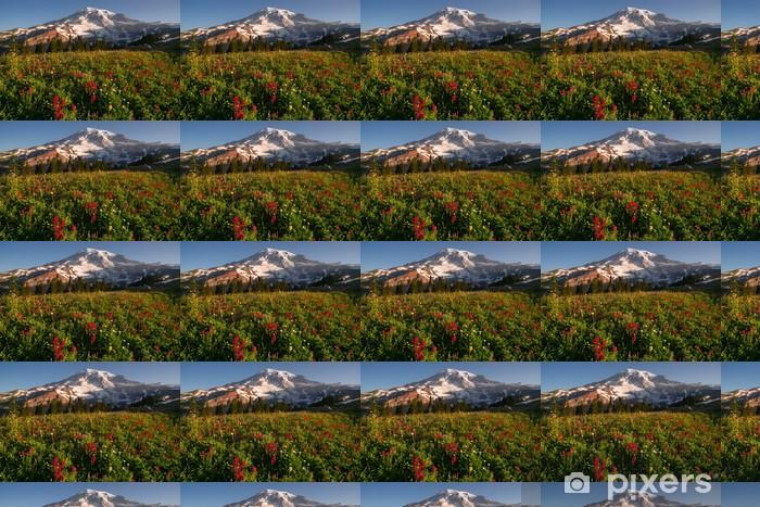 Papier peint vinyle sur mesure Cascade Range Rainier National Park Mountain Paradise Meadow - Fleurs