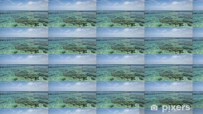 Tapeta na wymiar winylowa Widok starego rozbitego molo podczas słoneczny dzień z korali i zielone s - Wyspy