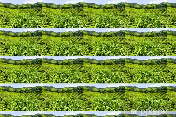 Papier peint vinyle sur mesure Vert jardin de thé sur la colline, sud de la Chine - Asie