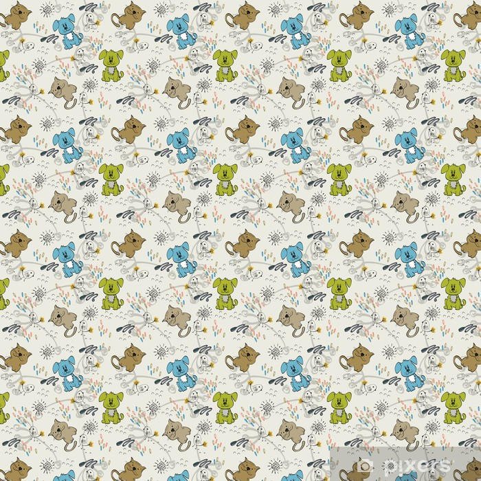Cute hand draw seamless pattern for kids. Vinyl custom-made wallpaper - Mammals