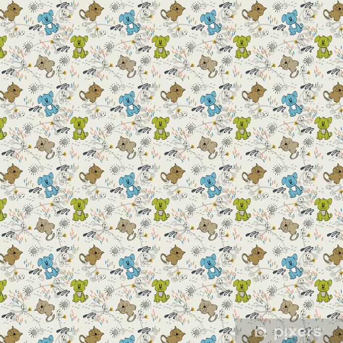 Zelfklevend behang, op maat gemaakt Leuke hand trekt naadloos patroon voor kinderen. - Zoogdieren
