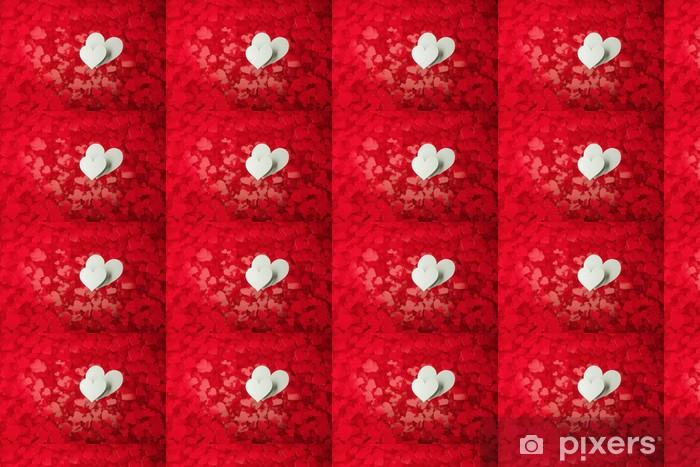Papier peint vinyle sur mesure Deux coeurs blancs sur un fond plein de coeurs rouges avec une faible - Bonheur