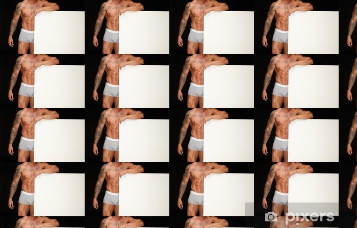 Papier peint vinyle sur mesure Homme avec un corps musclé athlétique tenant préavis tableau blanc - Beauté et soins du corps