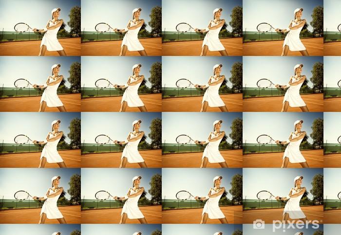 Papier peint vinyle sur mesure Femme joue au tennis - Tennis