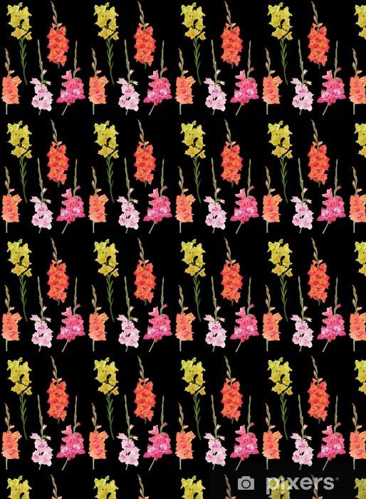 Vinylová tapeta na míru Pět mečík květiny na černém pozadí - Květiny