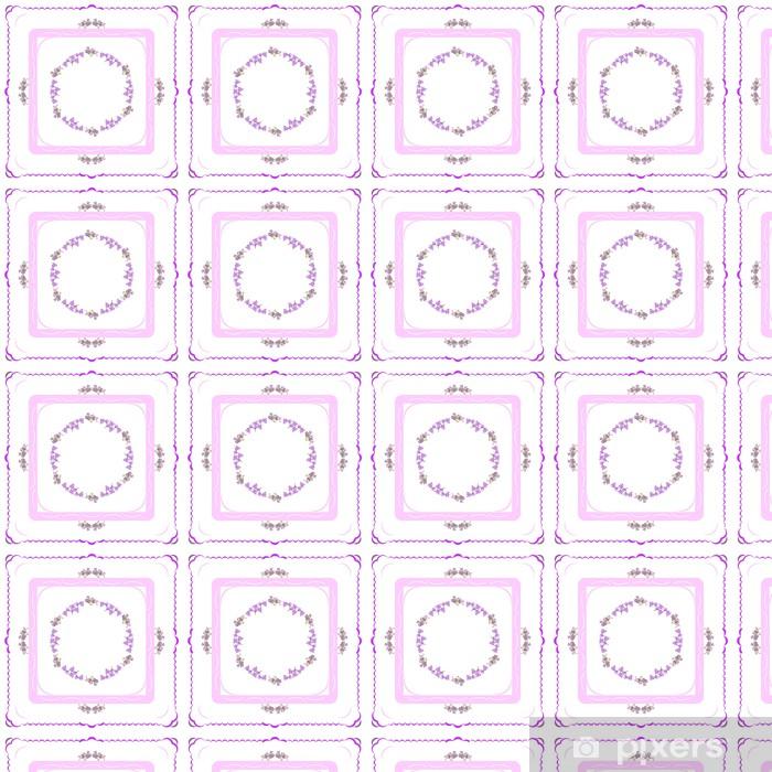 Papel pintado estándar a medida Composición de flores y figuras geométricas como patrón - Fondos