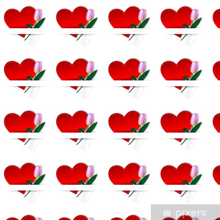 heart and Tulip Vinyl custom-made wallpaper - Flowers