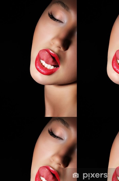 Woman Licking Her Red Sexy Lips Passion Vinyl Wallpaper Themes