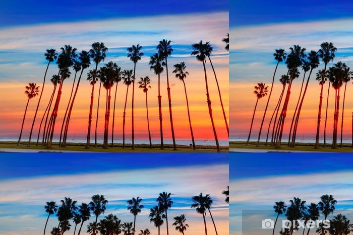 Vinil Duvar Kağıdı Santa Barbara California günbatımı Palmiye ağacı satırları - Amerika