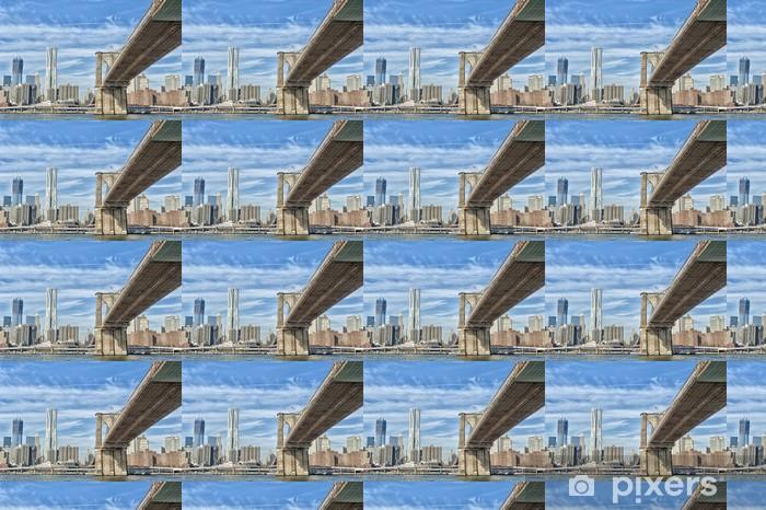 Vinyltapete nach Maß New York Manhattan-Ansicht mit Brooklyn-Brücke - Infrastruktur