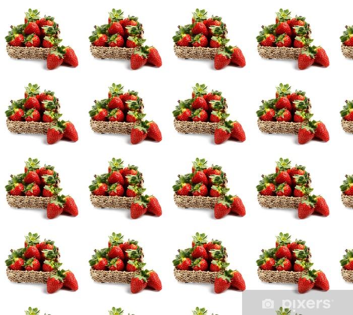 Papier peint vinyle sur mesure Panier de fraises - Fruits