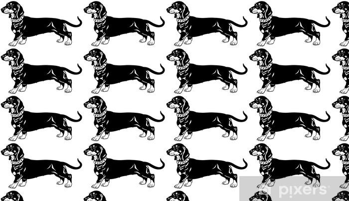 Vinyltapete nach Maß Dackel schwarz weiß - Säugetiere