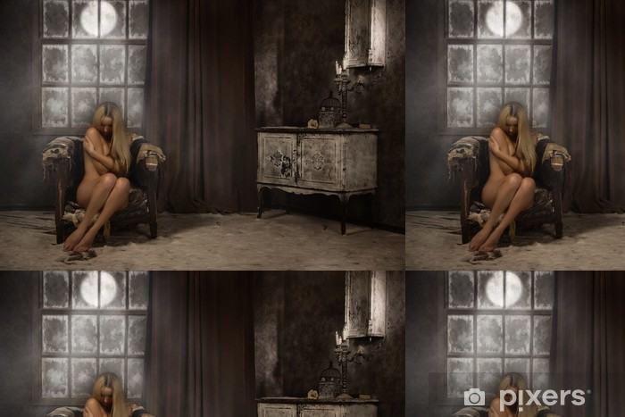 Naked girl in a mystical snowy interior Vinyl Wallpaper - Themes