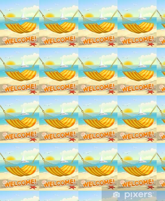 Carta da parati in vinile su misura Spiaggia vista dal amaca - Vacanze