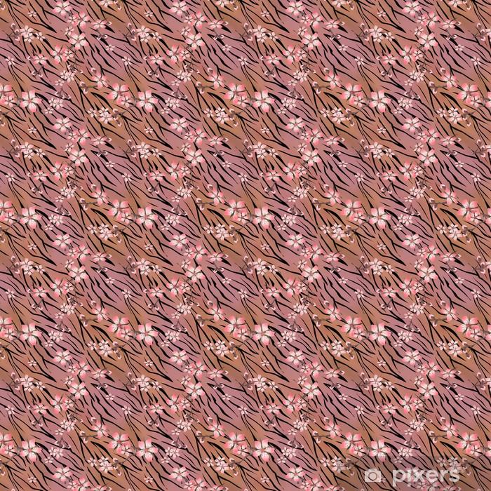 Vinylová tapeta na míru Růžové květy na tygra divoké Kůže bezešvé vzor - Pozadí