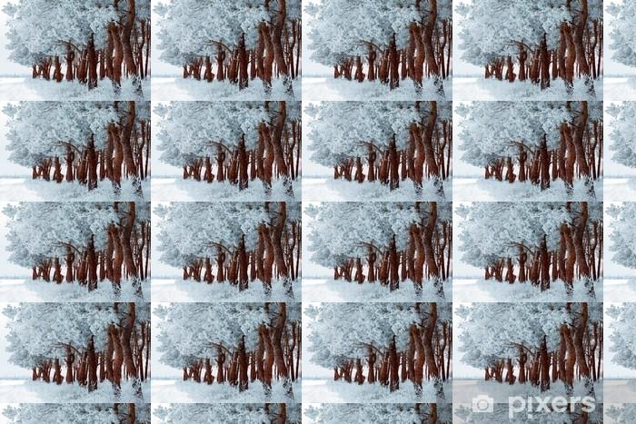 Papier peint vinyle sur mesure Hiver forêt de givre sur les arbres et les flocons de neige - Campagne