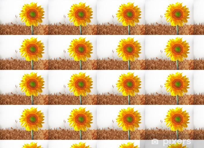 Vinylová tapeta na míru Slunečnice v pšeničném poli - Témata