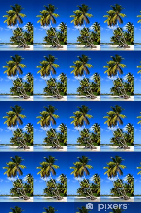 Exotic Palms On Sandy Caribbean Beach In Dominicana Wallpaper Vinyl Custom Made
