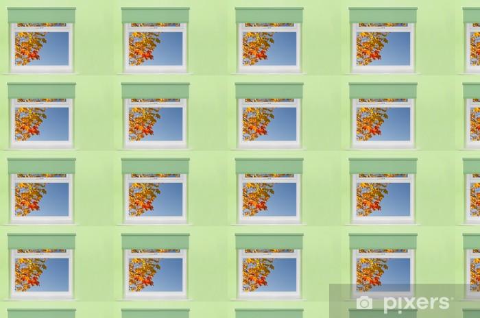 Tapeta na wymiar winylowa Zobacz jesienne liście i błękitne niebo z okna - Tematy