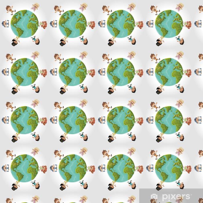 Vinylová tapeta na míru Roztomilý šťastné kreslený děti přes planety Země - Děti
