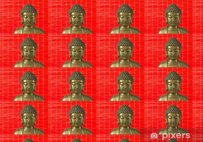Papier peint vinyle sur mesure Golden Buddha est sur le fond rouge - Thèmes