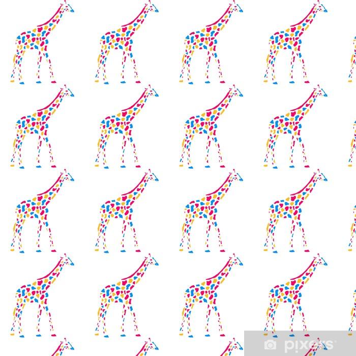 Vinyltapete Giraffe Afrika Savanne Bunte Farbe Gehen Muster Design - Zeichen und Symbole