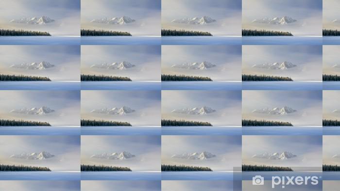 Tapeta na wymiar winylowa Idaho górskie jezioro z mgły i śniegu w zimie - Pory roku