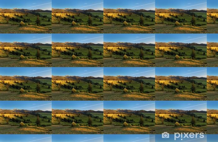 Papier peint vinyle sur mesure Paysage avec prairie et forêt - Montagne