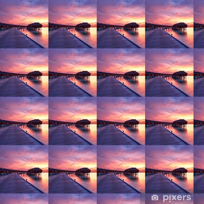 Vinyl behang, op maat gemaakt Zonsondergang bij Maldivische strand - Thema's