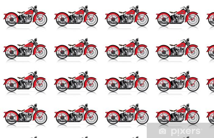 Papier peint vinyle sur mesure Moto classique rouge - Sur la route