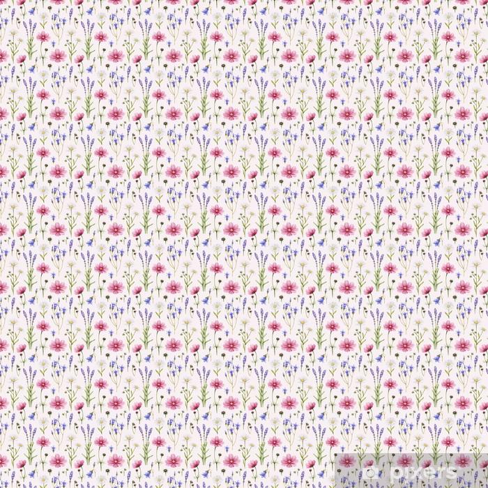 Flores silvestres ilustración. Acuarela patrón transparente