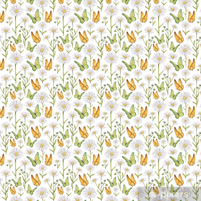 Tapeta na wymiar winylowa Ilustracja rumianku i motyle - Zasoby graficzne