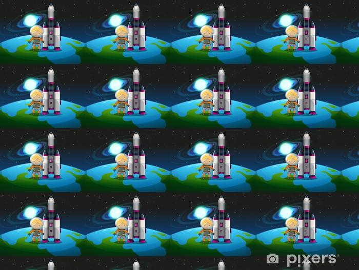 Tapeta na wymiar winylowa Explorer stojący obok rakiety nad ziemią - Inne uczucia