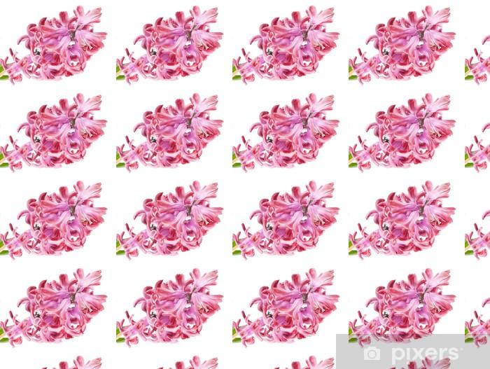 Papier peint vinyle sur mesure Jacinthe rose sur le fond blanc - Fleurs
