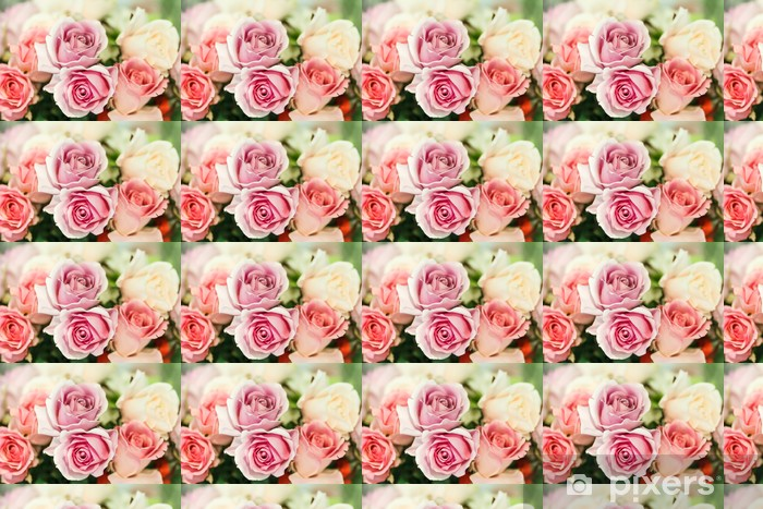 Papel pintado estándar a medida Rosas artificiales de color rosa Cerca - Temas