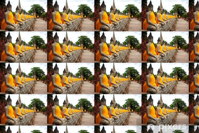 Papier peint vinyle sur mesure Rangée de statues de Bouddha en pierre Vieux - Monuments