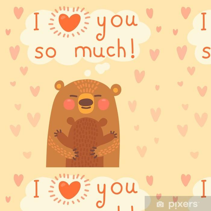 Papel de Parede em Vinil Greeting card for the bear mother and cub. - Signos e Símbolos