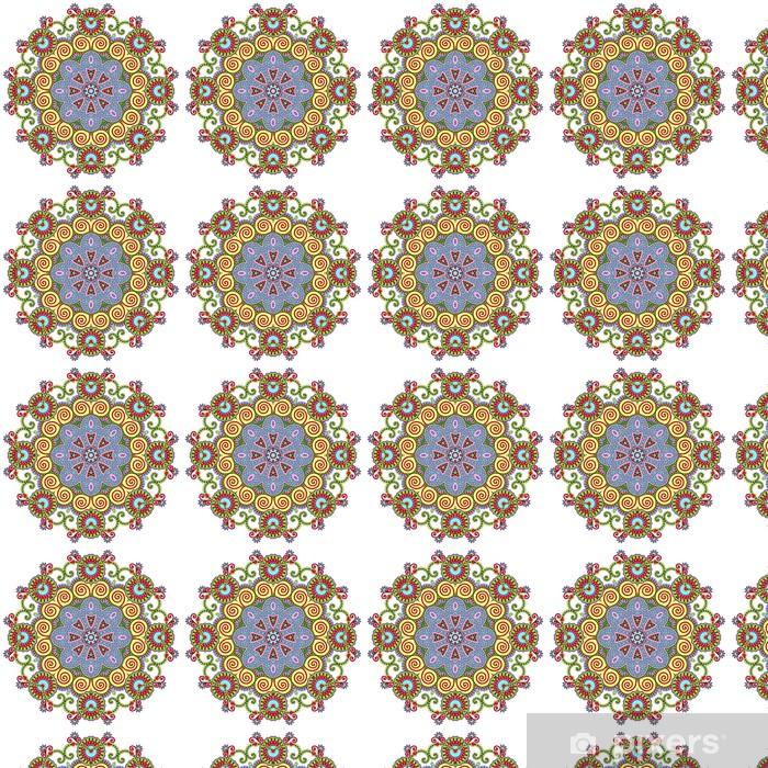 Papier peint vinyle sur mesure Ornement de dentelle de cercle, modèle de napperon ornement géométrique ronde - Sticker mural