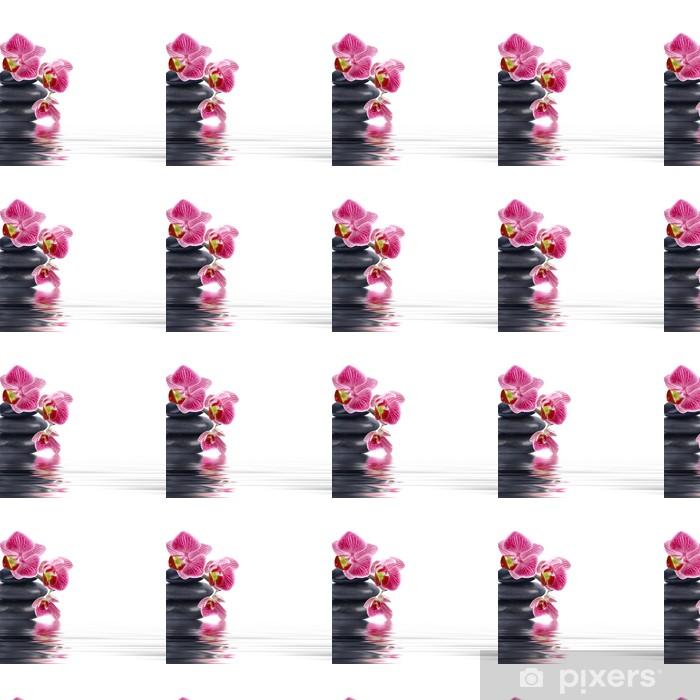 Vinyltapete nach Maß Orchideenblüte in der Nahaufnahme mit Reflexion im Wasser - Blumen
