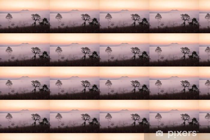 Papier peint vinyle sur mesure Savane avec le lever du soleil et le brouillard - Thèmes