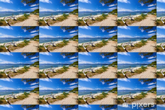 Vinylová tapeta na míru Tradiční loď na tropické pláži - Voda