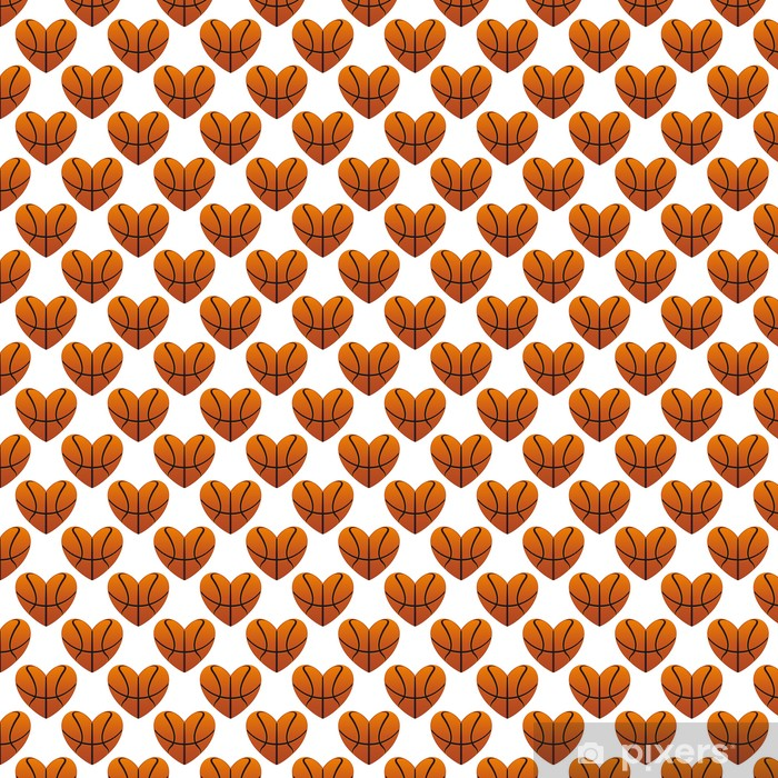 Papier peint vinyle sur mesure Coeurs de basket-ball dans un modèle homogène - Arrière plans