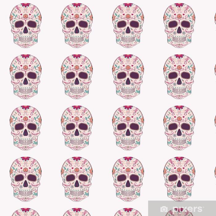 Tapeta na wymiar winylowa Ilustracji wektorowych Święto Zmarłych czaszki z ornamentem - Ameryka