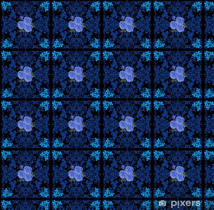 Papier peint vinyle sur mesure Carré bleu avec des roses - Fleurs
