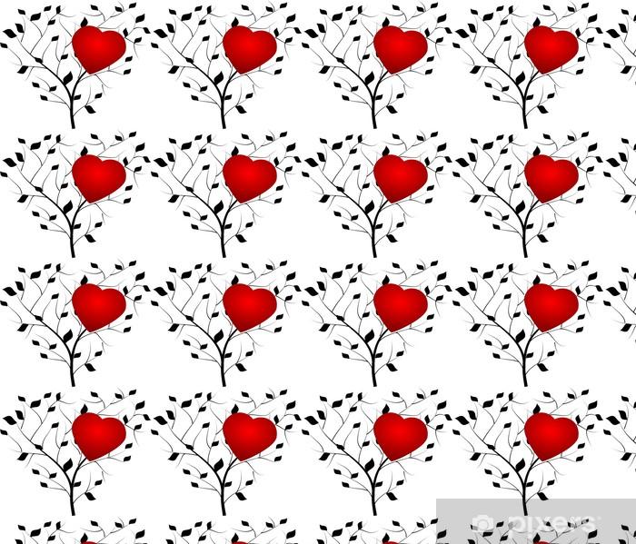 Vinyltapete nach Maß Schwarz-Baum mit roten Herzen - Bäume