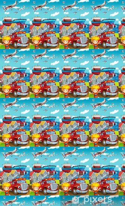 Tapeta na wymiar winylowa Cartoon ulicy - ilustracja dla dzieci - Tła